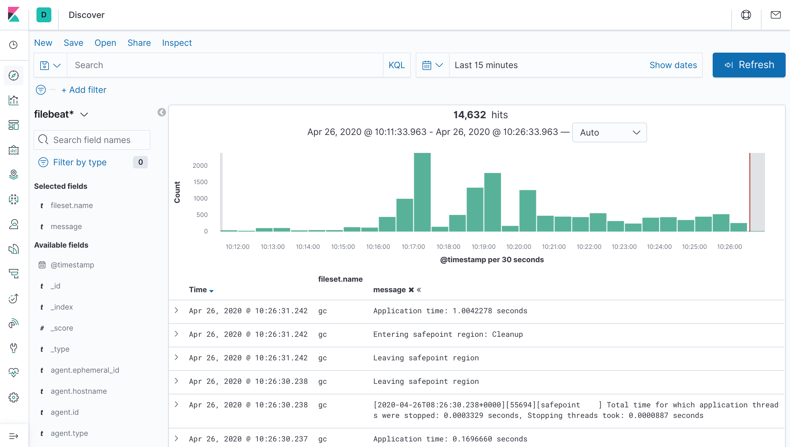 Discover with the Elasticsearch module logs