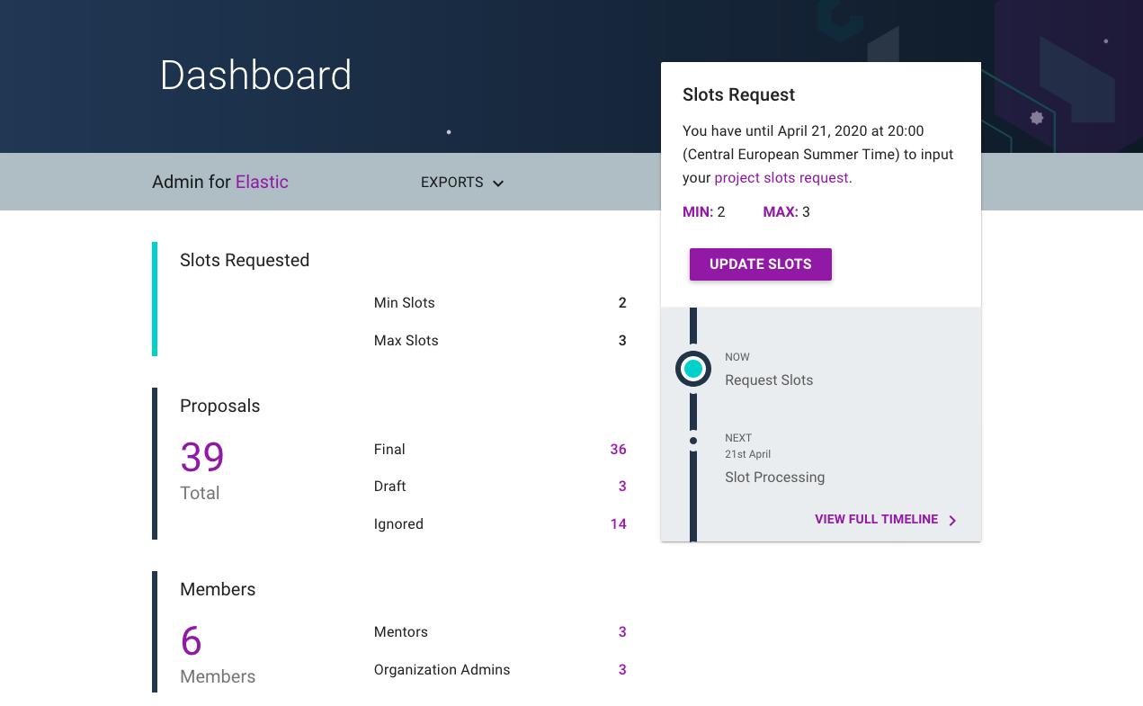 GSoC admin dashboard